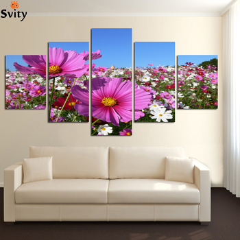 Sunlight colorful flowers Scenery Modular Pictures Canvas Painting Home Decoration Oil Painting Unframed A70