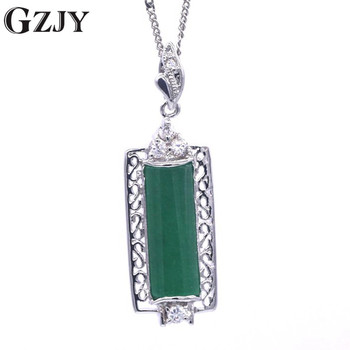 GZJY Green Stone Rectangle Pendant Necklace Fashion Jewelry Gifts For Women Birthday Party
