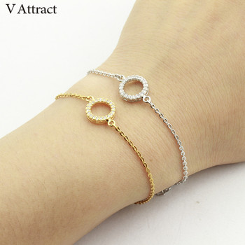 V Attract Friendship Gift CZ Circle Bracelets & Bangles Geomtric Jewelry Cubic Zirconia Geometric Round Pulseras Mujer 2017