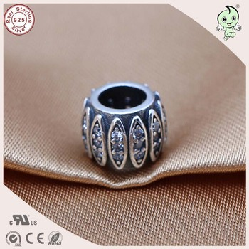 Silver Factory Sell Vintage 925 Real Silver Barrel Bead Charm Fitting European Famous Bracelet