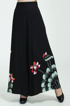 Black Female Causal Wide Leg Pant Chinese Style Printed Cotton Trousers Elastic Waist Loose Pants Flower M L XL XXL 2369-4