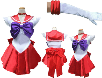 SAILOR MOON MARS COSPLAY KOSTÜM + ELDİVEN + NECHLACE